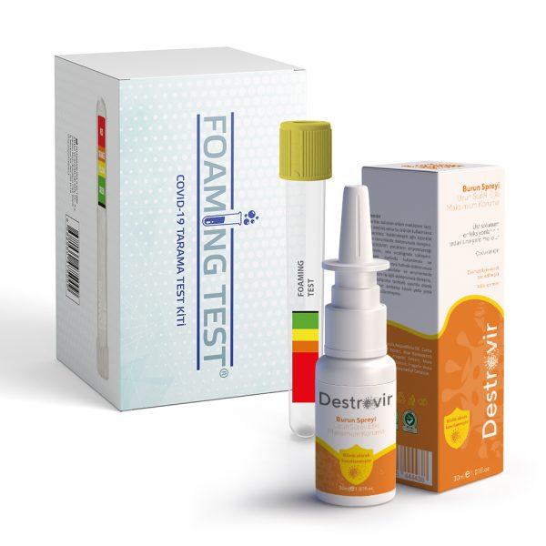 Schaumtest und Destrovir Nasenspray (für Kinder)